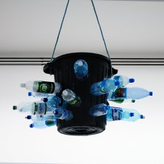 Parched Illumination // Refuse Bin, Plastic Water Bottles, Glue, Rope // 70 x 120 cm // 2006