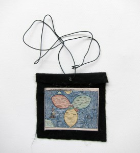 Midi Evil Weather Foe Cast (Meditated Media Medals) // Laminated Digital Print, Felt, Eyelet, Glue, Wire // 10 x 10 cm // 2016