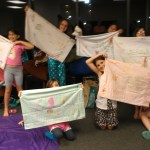 Decorating pillowcases at our mother-daughter slumber party!