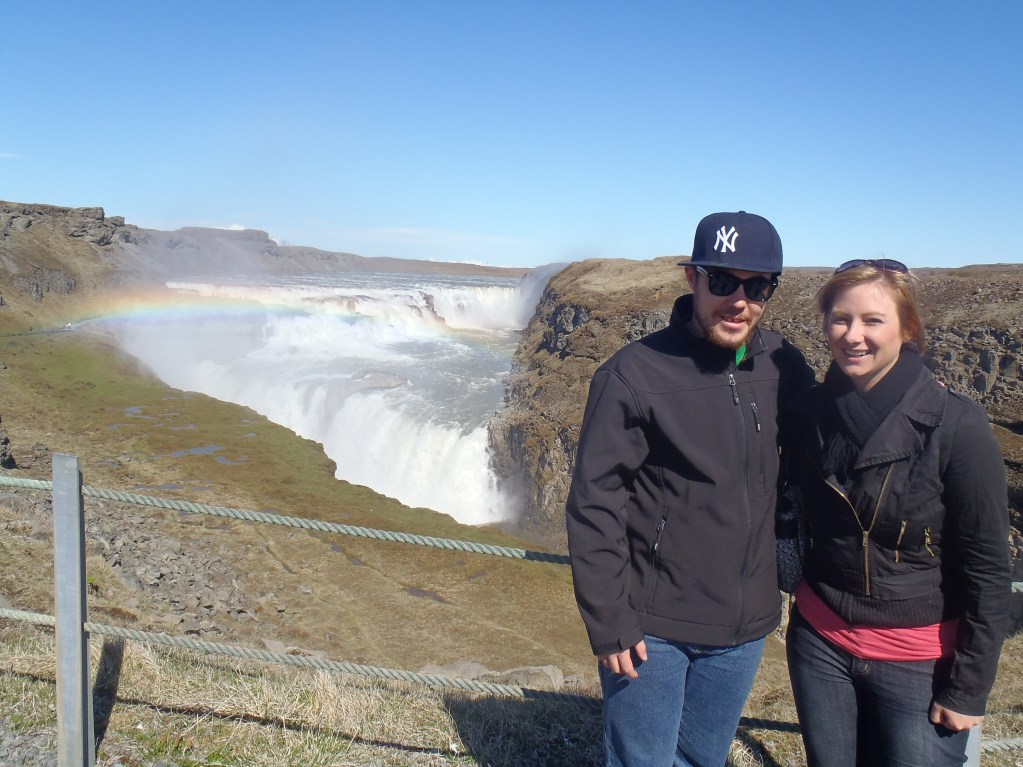 Never Ending Honeymoon | Jacqui and Dan at Gulfoss Waterfall, Iceland