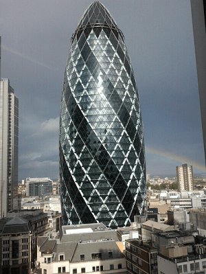 Never Ending Honeymoon | View of the Gherkin from my desk in London