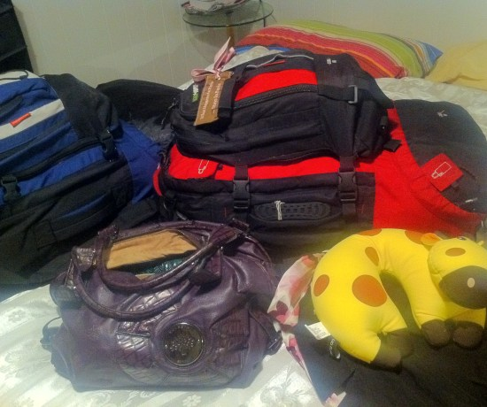 All of our belongings in a couple of backpacks...