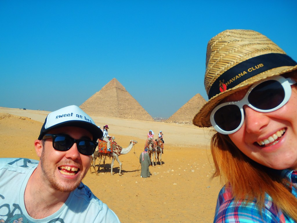 Dan and Jacqui at the Pyramids of Giza in Egypt