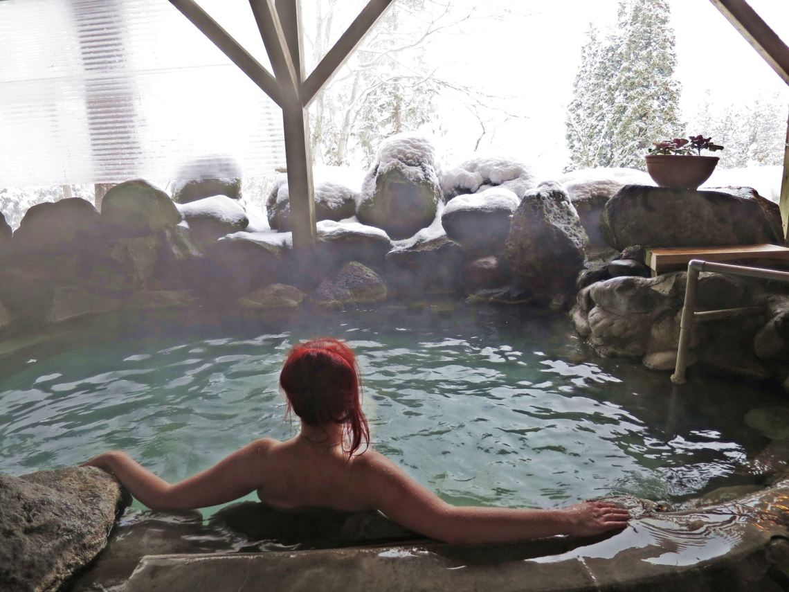Jacqui in the Onsen in Japan