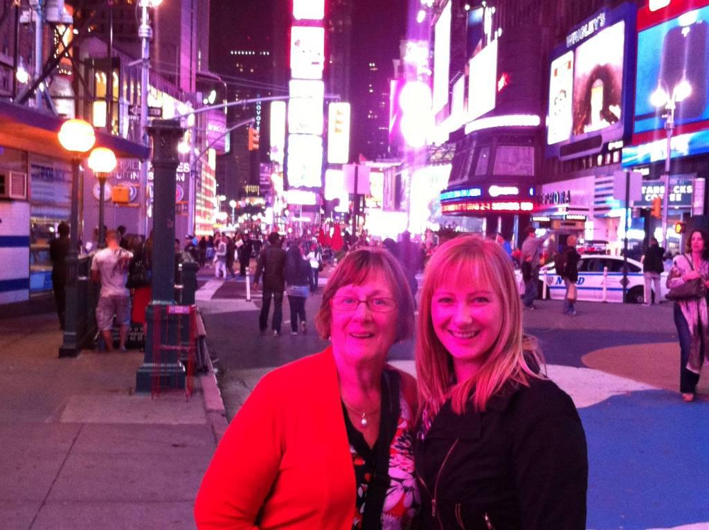 Times Square at night New York City Jacqui and Nana