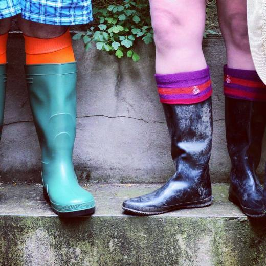 Dan and Jacqui in Wellington Boots ready for Glastonbury Music Festival