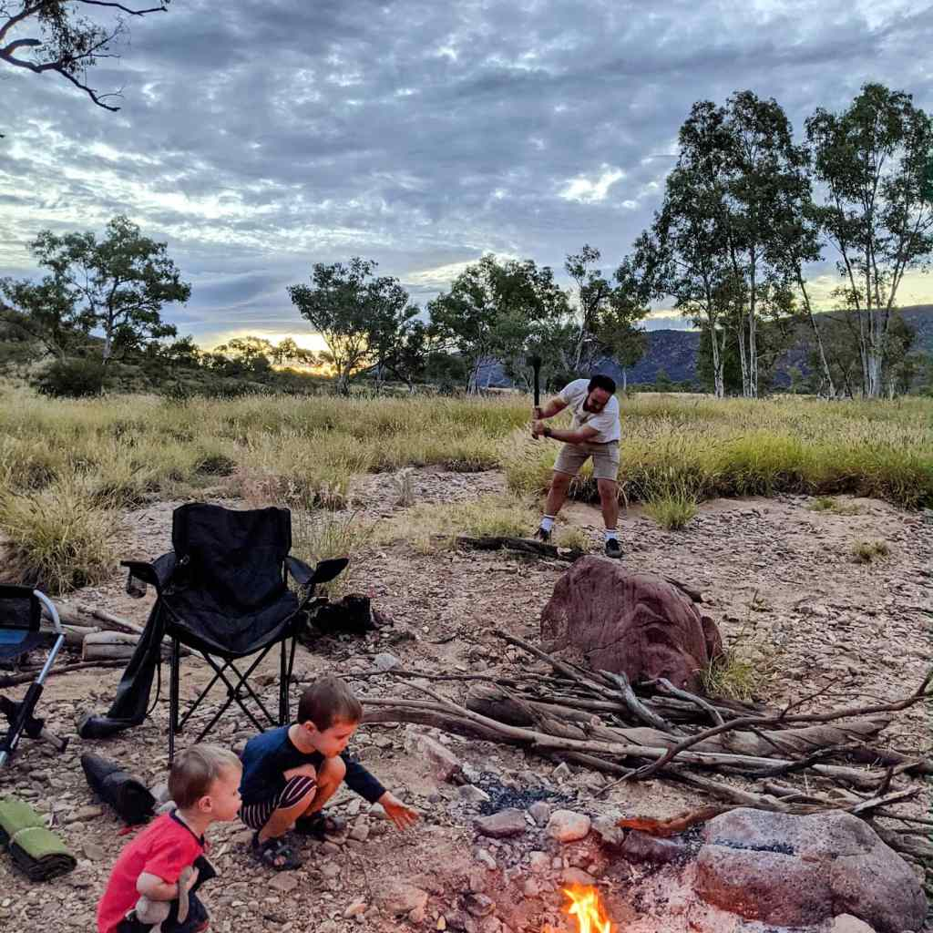 NT holiday West MacDonnell Ranges Ellery Creek camping fire