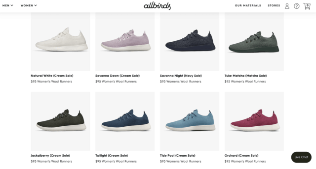 Allbirds wool runners website showing a range of colours available