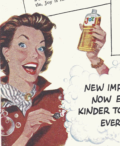 Retro Ad - Woman is high as a kite and appears to be drinking dishwashing liquid