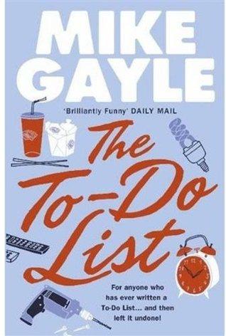 """framsida til boka """"The To-List"""" blå bakgrunn, med forfatternavnet i store hivte bokstaver på topppen og tittelen i rød kursiv under, omringet av illustrasjner av fast food, vekkerklokke, en drill og noen fjernkontroller og det som kanskje er en sikring"""