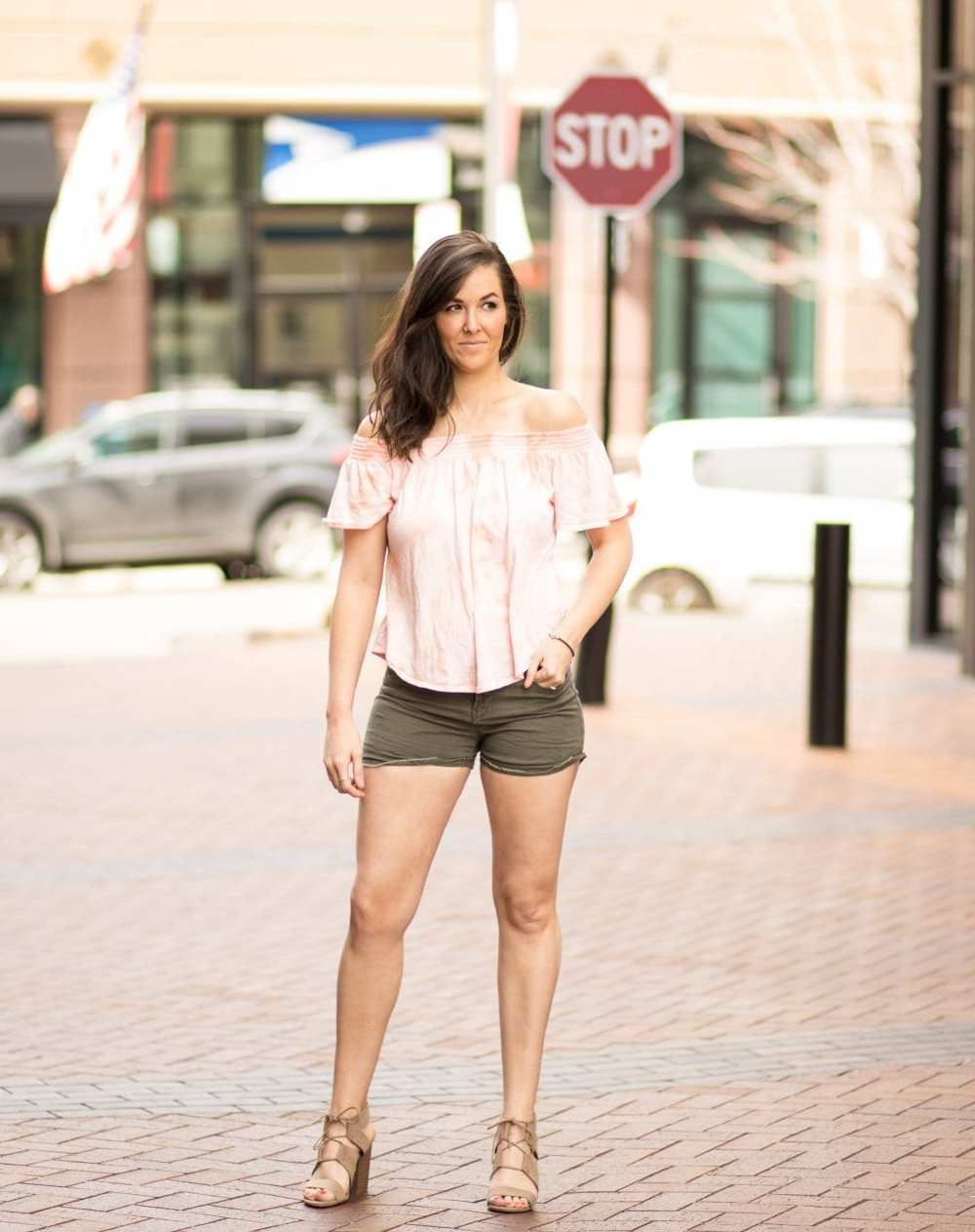 off shoulder tops for spring | spring style | pink off shoulder | army green shorts