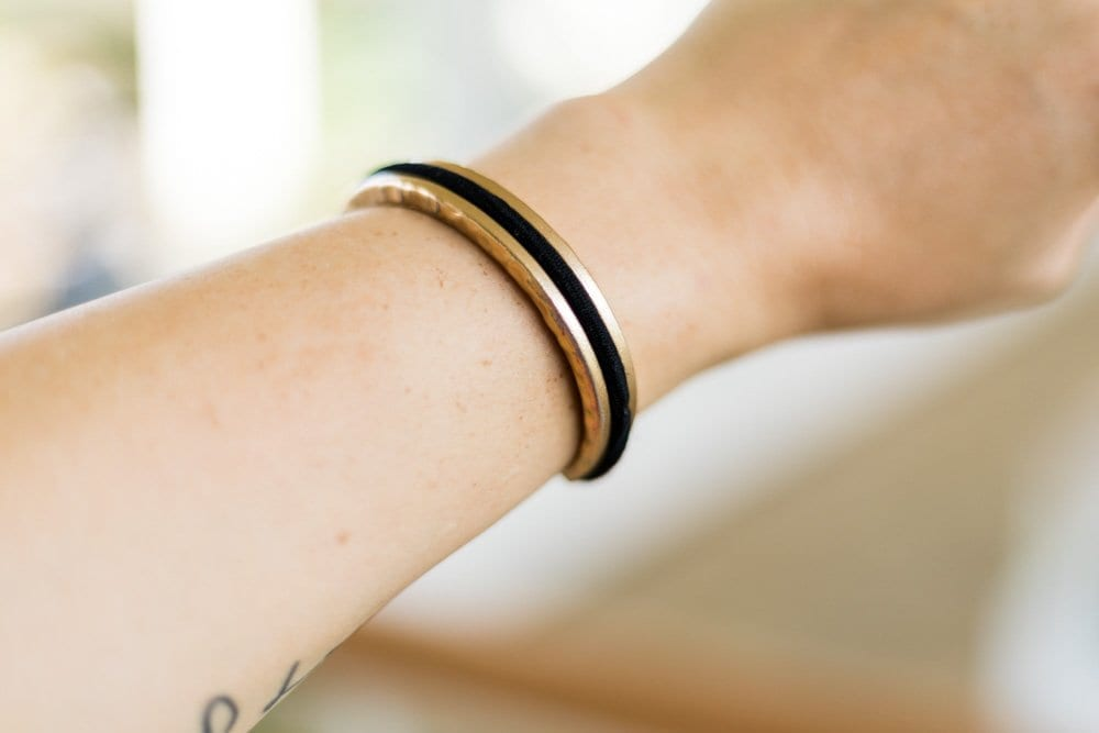 Gold bracelet   hair tie bracelet   hair tie holder   gold bangle   bracelet that holds hair tie