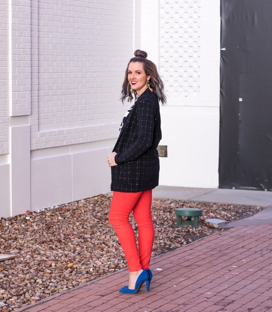casual chic outfit idea | H&M casual look | polka dot business casual | fashion blogger | never skip brunch | cara newhart