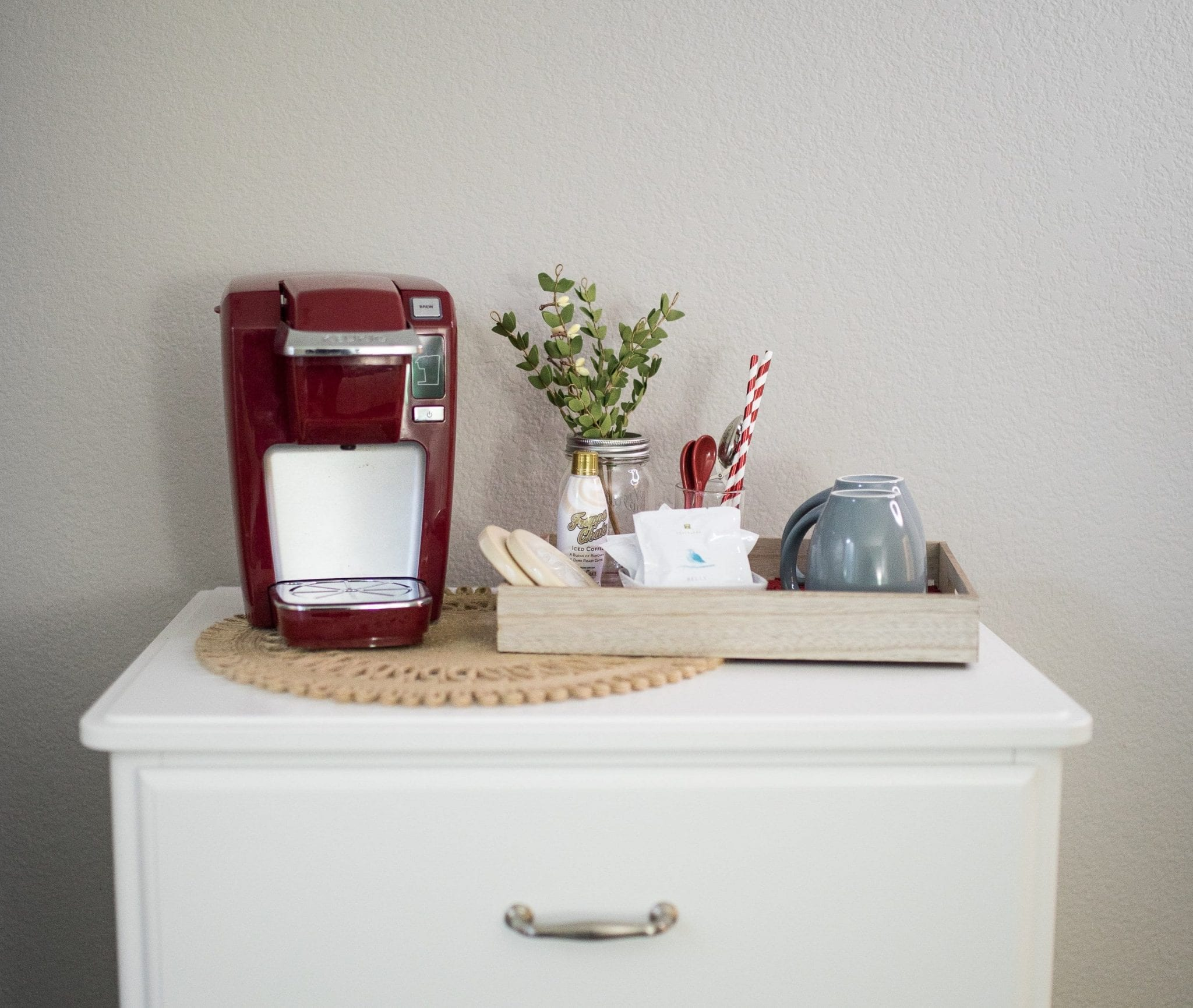 guest bedroom coffee bar | holiday guest bedroom decor | guest bedroom coffee station holiday | christmas decor for guest room | holiday decor christmas | never skip brunch by cara newhart #decor #christmas #holiday #coffeebar