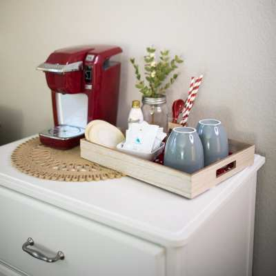 Add a Festive Guest Bedroom Coffee Bar for your Holiday Guests