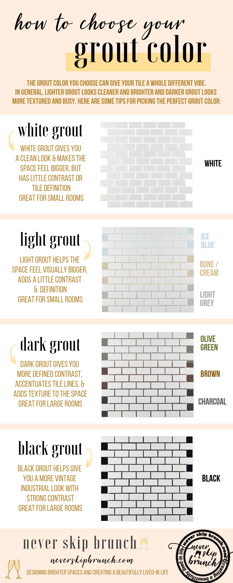 how to choose grout color | charcoal grout | grout colors for white tile | grout colors for white subway tile | dark grey grout for subway tile | grout refresh | change grout color subway tile | Never Skip Brunch by Cara Newhart | #livingroom #home #decor #neverskipbrunch
