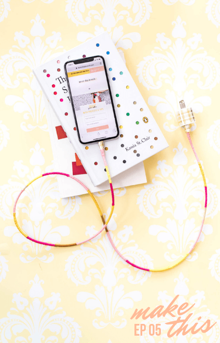 wrapped charger cord diy | wrapped charger cord | DIY Ideas | DIY Projects | wrapped charger cord lightning | Easy DIY Projects Yarn | Yarn crafts | Never Skip Brunch by Cara Newhart Denver Blogger | #DIY #Crafts #decor #yarn