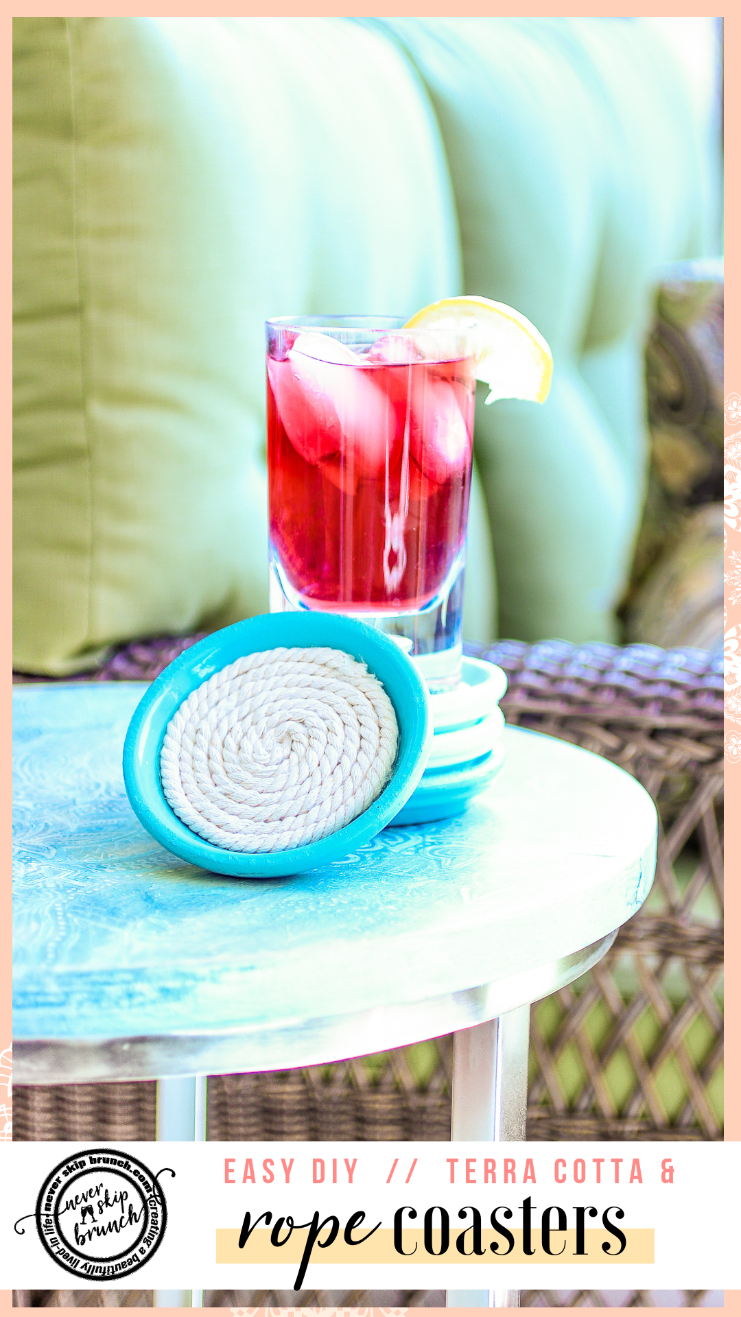 This easy diy project shows you how to make rope coasters with a glue gun that have a bottom | rope coasters home decor | rope coasters tutorials | Never Skip Brunch by Cara Newhart | #decor #diy #neverskipbrunch