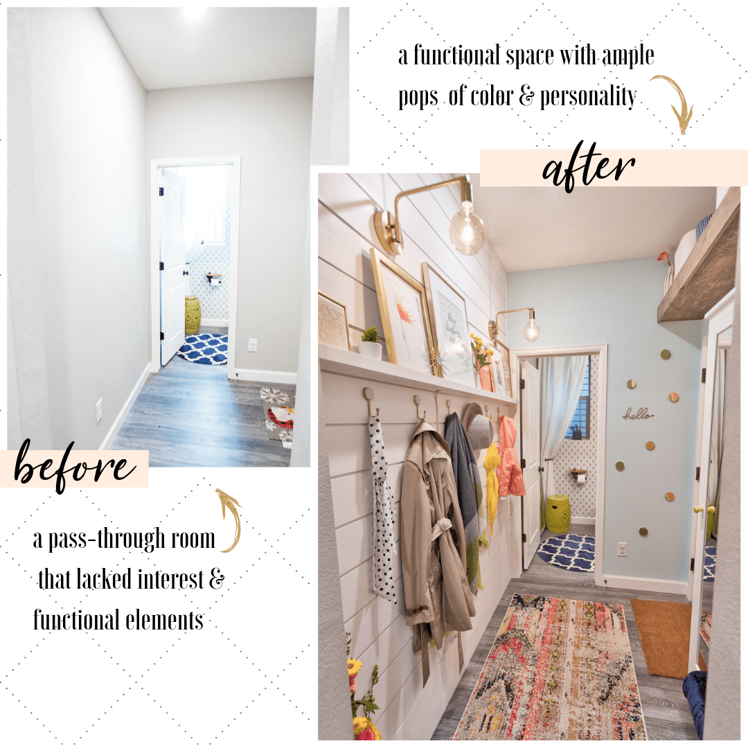 """BEFORE: """"a pass-through room   that lacked interest & functional elements"""" AFTER: """"a functional space with ample   pops  of color & personality"""""""