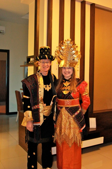 My Uncle Tom and I dressed up in traditional Indonesia clothes for a Town Hall dinner!