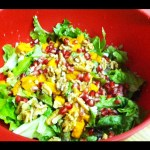 Winter Salad with Sweet Potatoes, Pomegranate Seeds, Goat Cheese and more!