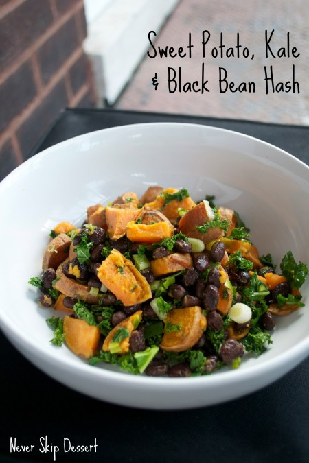 Sweet Potato Kale and Black Bean Hash with Text