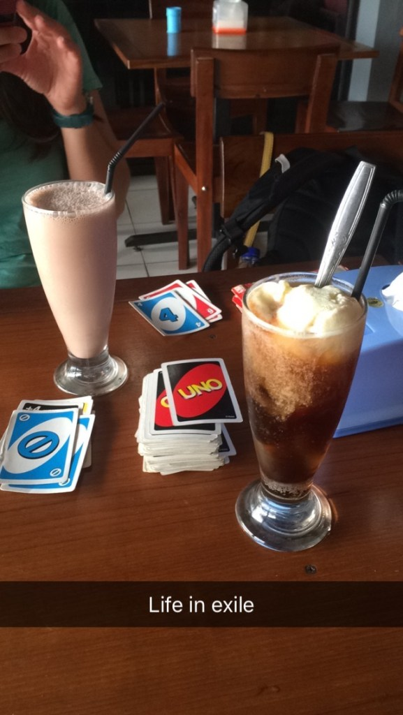 Coke float, chocolate shake and uno - why am I complaining?!
