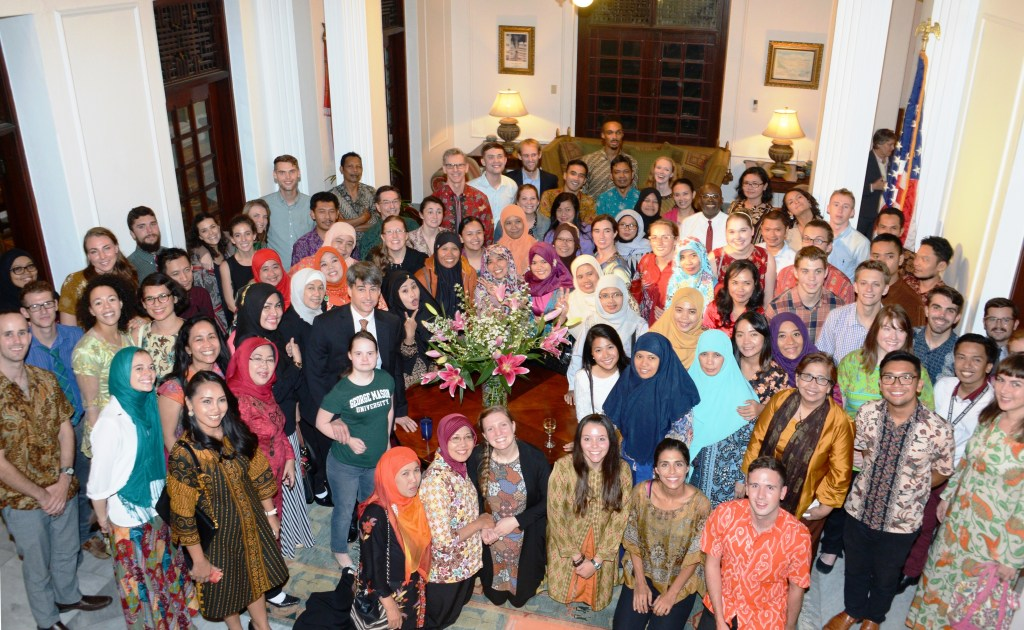 The group of ETAs and coteachers at the US Embassy Chief of Mission's Residence