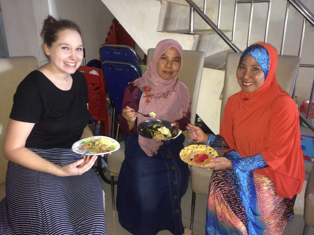 Two of my coteachers, Ibu Asni and Ibu Erni enjoying our meal!