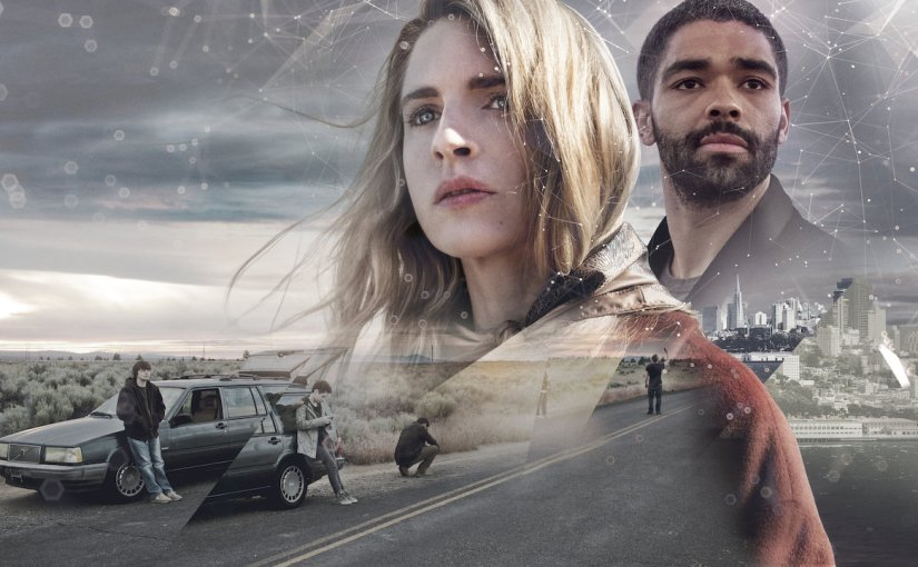 The OA Season 2 promotional image featuring images of two main characters standing next to a car on a deserted highway on a cloudy day