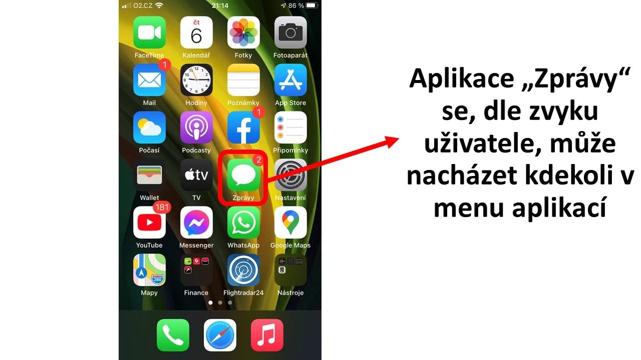Postup spuštění aplikace Zprávy