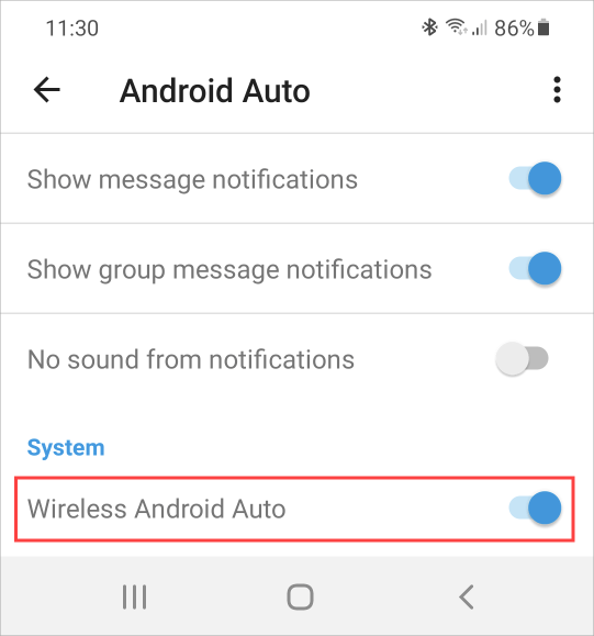 Wireless Android Auto setting