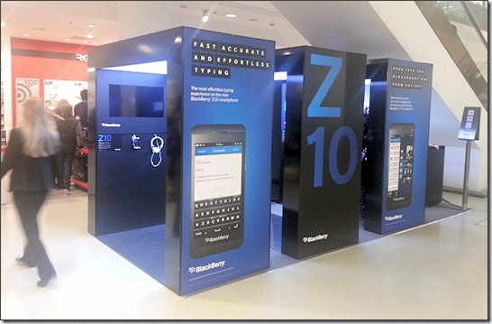 BlackBerry Z10 on display