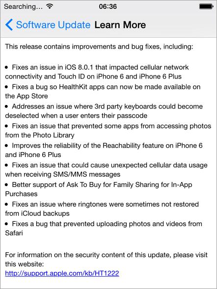 iOS 8.0.2 Learn More