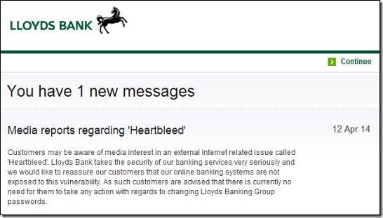 Lloyds Bank Heartbleed message