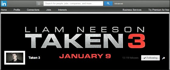 Movie marketing with imagination comes to LinkedIn with Taken 3