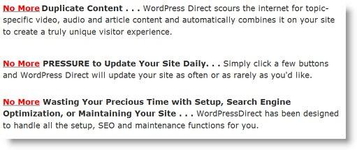 WordPressDirect creates spam sites