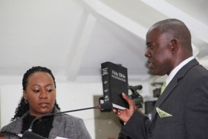 Hon. Robelto Hector takes his oath as a member of the Opposition at the Nevis Island Assembly