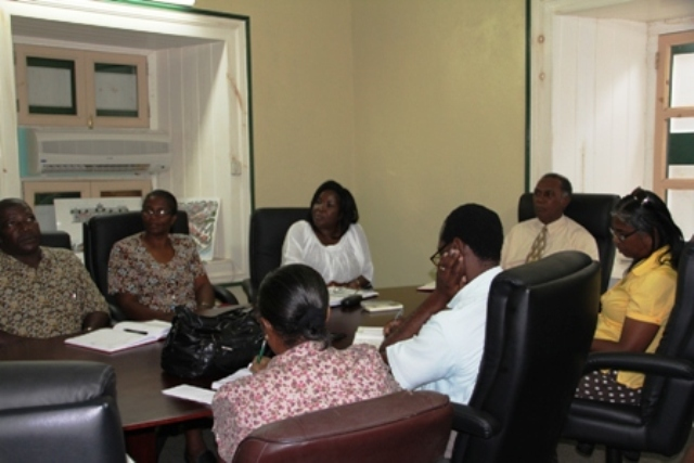 Premier of Nevis and Education Minister Hon. Vance Amory (head of the table) meeting with Permanent Secretary in Education Mrs. Lornette Queeley-Connor (third from left) the island's school principals at the Cabinet Room at the Bath Hotel