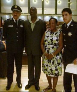 Commissioner Walwyn (2nd from left) and Mrs. Walwyn with Mexican Police Officials