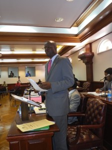 Kitts and Nevis Mnister of Foreign Affairs, Homeland Security, Labour and Justice and Legal Affairs, the Hon. Patrice Nisbett in the National Assembly on Wednesday. (Photo by Erasmus Williams)