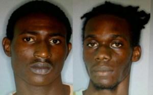 (L) Kishorn Williams of Lower Monkey Hill and Nicholas Johnson of Carifesta Village
