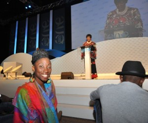 Sonia Boddie was one of the many delegates who gave up a chair and sat on the floor to be closer to Winnie Madela