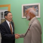 St. Kitts and Nevis' Governor General His Excellency Sir Edmund Lawrence (right) and Taiwan's Foreign Minister His Excellency Lin during a visit to Government House in Basseterre