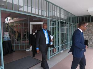 Opposition walking out of Government Headquarters,