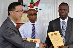 Left- Ambassador Miguel Tsao, Centre- Deputy Prime Minister Asim Martin, Right - Minister Carty