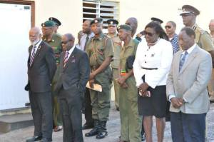 front row left to right) Governor General His Excellency Sir Edmund Lawrence, Prime Minister the Right Honourable Denzil Douglas, Permanent Secretary in the Anti-Crime Unit Her Excellency Astona Browne and Cabinet Secretary His Excellency Joseph Edmeade along with security chiefs and other personnel.
