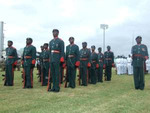SKNDF soldiers on parade