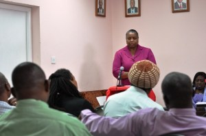 Chief Personnel Officer in the Human Resource Department, Ms Torfrida Rochester, speaking to the graduates present. --