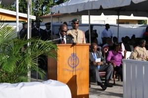 Prime Minister the Right Honourable Dr. Denzil Douglas addresses graduates